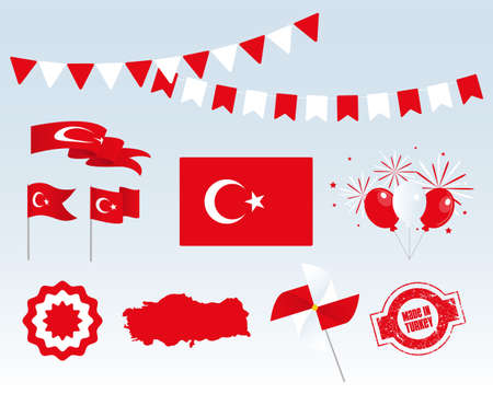 National holiday. Independence Day of Turkey, set of vector design elements, Made in Turkey. Map, flags, ribbons, turntables, sockets. Vector symbolism, set for your infographics. Stock Illustratie