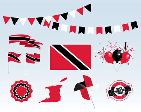 National holiday. Trinidad and Tobago Independence Day set of vector design elements, Made in Trinidad and Tobago. Map, flags, ribbons, turntables, sockets. Vector symbolism, set for your info graphic