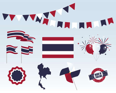 National holiday. Independence Day of Thailand, set of vector design elements, Made in Thailand. Map, flags, ribbons, turntables, sockets. Vector symbolism, set for your infographics. Stock Illustratie
