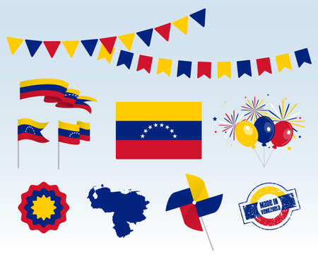 National holiday. Independence Day of Venezuela set of vector design elements, Made in Venezuela. Map, flags, ribbons, turntables, sockets. Vector symbolism, set for your infographics. 5'th of July