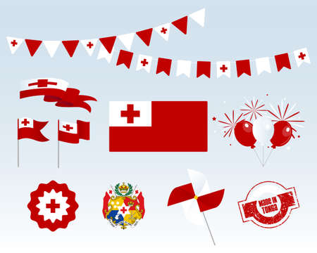 National holiday. Tonga Independence Day set of vector design elements, Made in Tonga. Map, flags, ribbons, turntables, sockets. Vector symbolism, set for your info graphic. June 4th