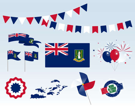 National holiday. Independence Day of Virgin Islands set of vector design elements, Made in Virgin Islands. Map, flags, ribbons, turntables, sockets. Vector symbolism, set for your infographics. Иллюстрация