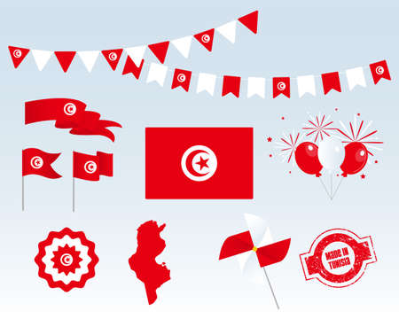 National holiday. Independence Day of Tunisia, set of vector design elements. Made in Tunisia. Map, flags, ribbons, turntables, sockets. Vector. 20th of March. Symbolism Ilustrace