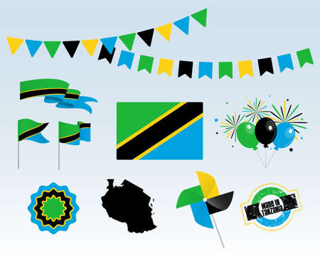 National holiday. Independence Day Tanzania set of vector design elements, Made in Tanzania. Map, flags, ribbons, turntables, sockets. Vector symbolism, set for your info graphics. December 2nd Vektorgrafik