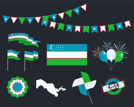 National holiday. Independence Day Uzbekistan set of vector design elements, Made in Uzbekistan. Map, flags, ribbons, turntables, sockets. Vector symbolism, set for your info graphics. September 1 Ilustrace