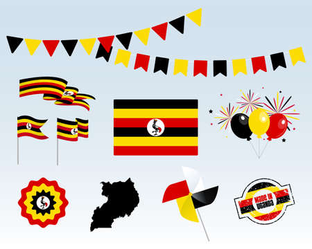 National holiday. Uganda Independence Day Set of Vector Design Elements Made in Uganda. Map, flags, ribbons, turntables, sockets. Vector symbolism, set for your info graphic. October 9th Stock Illustratie