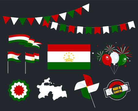 National holiday. Independence Day of Tajikistan, set of vector design elements, Made in Tajikistan. Map, flags, ribbons, turntables, sockets. Vector symbolism, set for your infographics. 9th of Septe