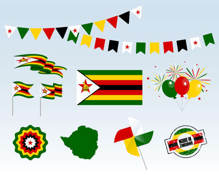 National holiday. Zimbabwe Independence Day, Set of Vector Design Elements Made in Zimbabwe. Map, flags, ribbons, turntables, sockets. Vector symbolism, set for your info graphic. April 18th Ilustrace