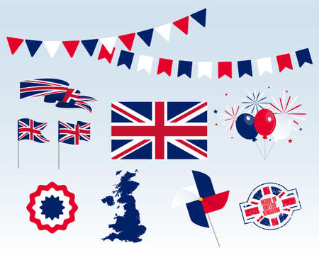 Big set of United Kingdom ribbons, symbols, icons and flags isolated on a white background, Made in United Kingdom. Vector symbolism, premium quality, set for your infographics, and templates