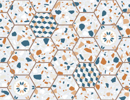 Terrazzo flooring vector seamless pattern. Texture of classic Italian type of floor in Venetian style composed of natural stone, granite, quartz, marble, glass and concrete. Antique hexagonal tiles.