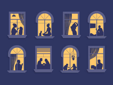 Neighbors in the windows. Cartoon characters in their apartment listen to music, children play and spend time together. Vector. Evening home scene, silhouette or shadow of people in the window Illustration