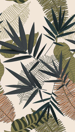 Tropical leaf - abstract art framed art vector print Illustration