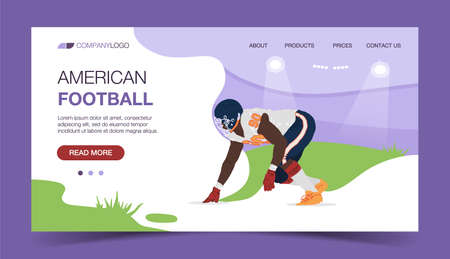 American Football Landing Page Template. Strong Man Character Player. Flat Cartoon Vector Illustration suitable for Website Page and Advertisement.