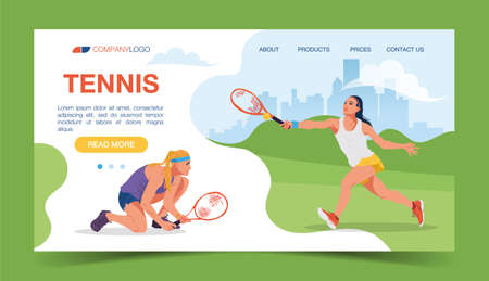 Two tennis players play with rackets. Championship, training. Vector illustration. Winning the sports team competition Vettoriali