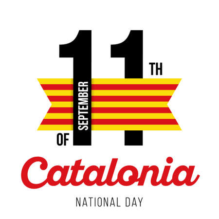 Congratulatory design for 11 September, Catalonia National Day and text with the colors of the flag of Catalonia. Vector illustration Çizim