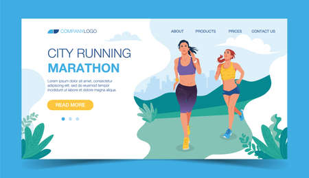 Running landing page template. Two Woman running in the park. Illustration for marathon, city run, training, cardio exercising. Vector illustration in flat style