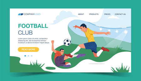 Soccer club landing page design, vector illustration of two soccer players kicking the ball in the stadium for a live sport tournament concept.