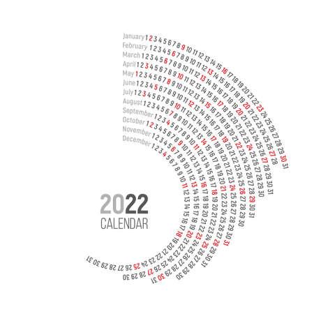 Round calendar 2022 on a white background Illusztráció