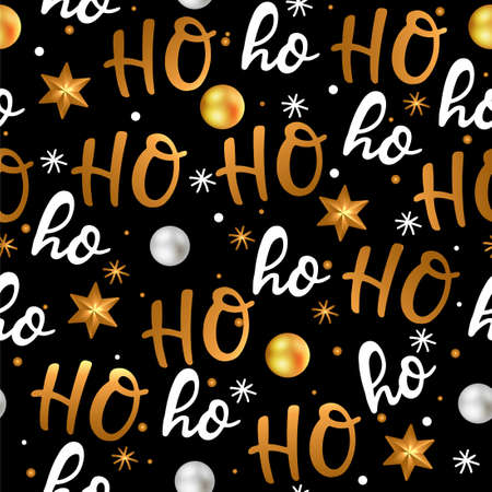 Ho ho ho, Santa Claus laugh. Seamless texture for Christmas design. Vector black background with handwritten words white and gold Christmas balls. 向量圖像