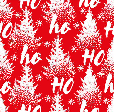 Hohoho pattern, Santa Claus laugh. Seamless texture for Christmas design with Fir Trees and Pines in Snow. Vector red background with handwritten word's ho.