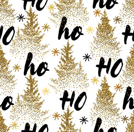 Ho Ho Ho. Hand drawn lettering in golden style isolated on white seamless background. 向量圖像
