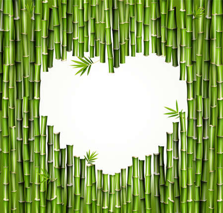 Set of bamboo scaffolding with a heart-shaped hole. Nature. Japan, China. Plant. Green tree with leaves. Rainforests in Asia. Vector 向量圖像