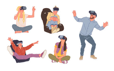 A Group of women and men are wearing virtual reality digital glasses. Vivid emotions. Abstract world, colorful flat style vector illustration 向量圖像