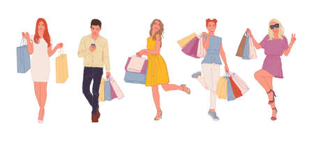 Set of beautiful young people with shopping bags. Couple in love, Fashionable women. Trading day concept. Stylish sketch. Vector illustration.