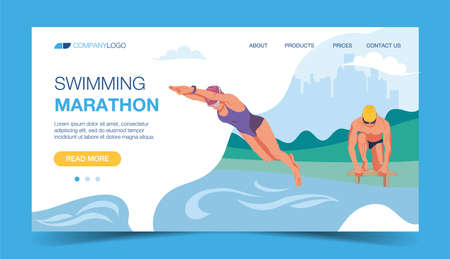 Launch landing page template. Diving man, guy at the marathon, front view. The girl in the jump. Illustration for marathon, swimming, training, sports exercises. Vector illustration in a flat style.