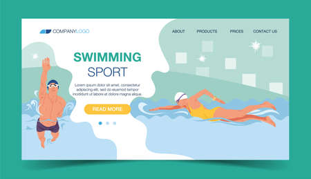 Sport swimming, swimming banner professional water sports vector illustration