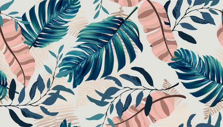 Summer exotic floral tropical palm, banana leaves in blue style. Vector seamless pattern on a pink background. Plant flower nature wallpaper
