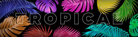 Vector horizontal banner with colorful, bright tropical leaves on a black background. Best as a web banner