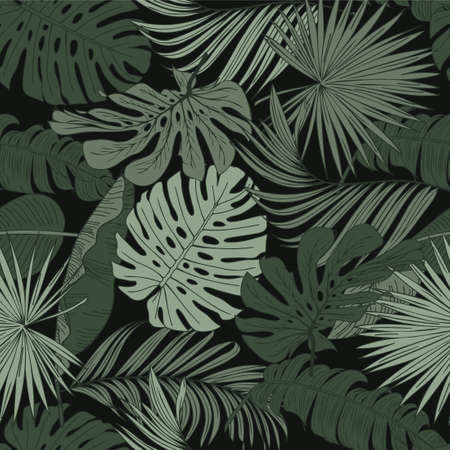 Botanical seamless tropical pattern with colorful plants and leaves on a black background. Colorful stylish floral. Exotic tropics. Summer. Hawaiian style. 向量圖像