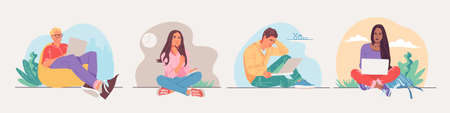 Set of illustrations of people, students. Men and women study, communicate, work and play on a laptop. Vector illustration 向量圖像