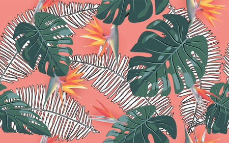 Summer Exotic Floral Tropical Palm. Jungle Leaf Seamless Pattern. Botanical Plants Background. Summer Tropical Palm Wallpaper for Print, Fabric, Tile, Wallpaper, Dress