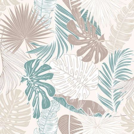 Nature seamless pattern. Hand drawn abstract tropical summer background: palm tree and banana leaves, bird-in-paradise flower in silhouette, line art. Vector art illustration in pastel retro colors