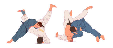 Judo. Vector illustration. Sports Championship. Set