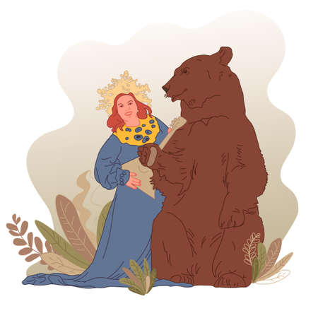 Fairy tale theme, vector illustration. Girl with balalaika and bear in the forest. Holiday card, book illustration