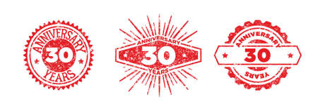 A group of 30 years anniversary logos drawn in the form of stamps, red frames for celebration. Grunge rubber stamp texture. Distressed texture stamp. Collection of postage stamps. Vector round stamps