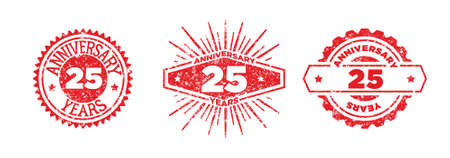 A group of 25 years anniversary logos drawn in the form of stamps, red frames for celebration. Grunge rubber stamp texture. Distressed texture stamp. Collection of postage stamps. Vector round stamps