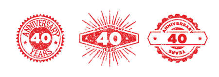 A group of 40 years anniversary logos drawn in the form of stamps, red frames for celebration. Grunge rubber stamp texture. Distressed texture stamp. Collection of postage stamps. Vector round stamps