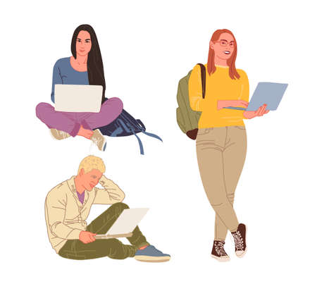 Young people, men and women freelancers work with laptops and computers. People are at home in quarantine. Vector flat style illustration 向量圖像