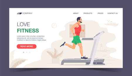 Running Fitness Character Design for Landing Page. Jogging Man Run in Gym. Healthy Urban Workout Training Lifestyle Website Concept. Flat Cartoon Vector Illustration