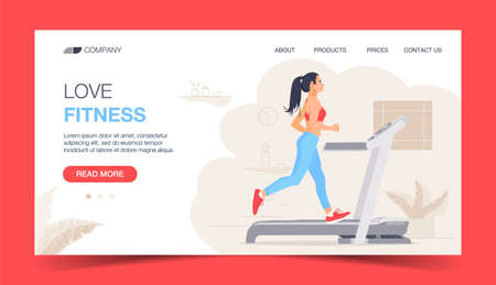 Running Fitness Character Design for Landing Page. Jogging Running girl in Gym. Healthy Urban Workout Training Lifestyle Website Concept. Flat Cartoon Vector Illustration