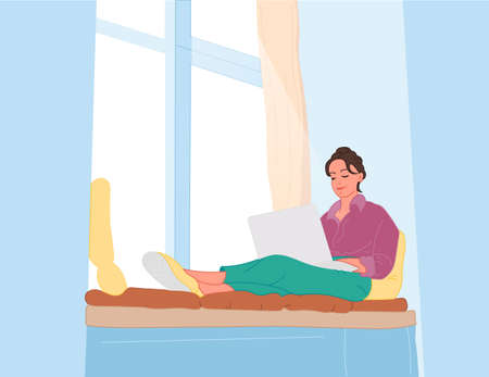 The girl is sitting by the window. A bored girl in a purple cardigan looks out the window and at the laptop. Vector flat style illustration 向量圖像