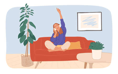 Young girl or woman and her hobby or daily activity. Cute female character listens to music with headphones in the room, rest and relaxation, flat vector style