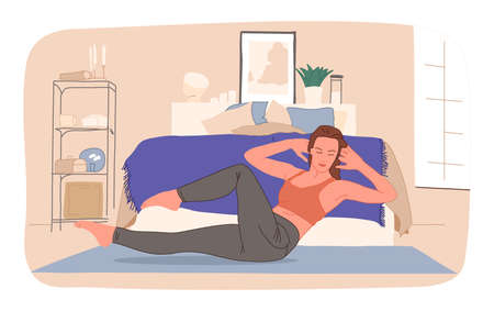 Smiling woman practicing online yoga classes at home vector flat illustration. Stretching on mat watching video lesson or live stream isolated. Sports girl doing exercise