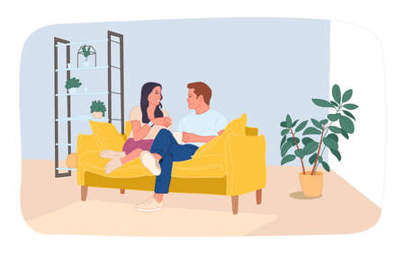 Hugging Couple in Love Sit Together on Sofa Illustration. Flat Cartoon Man and Woman Rest and Relax. Married Couple in Living Room at Home. Romantic Relationship and Love. Vector Illustration