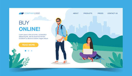 Page with a young man and a girl sitting with a laptop and placing an order in an online store. Buy online. International retail and global shopping. Modern flat vector for advertising, promo, website 向量圖像