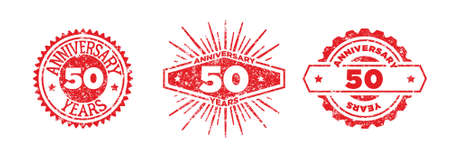 A group of 50 years anniversary logos drawn in the form of stamps, red frames for celebration. Grunge rubber stamp texture. Distressed texture stamp. Collection of postage stamps. Vector round stamps